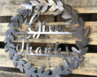 Give Thanks Metal Wreath