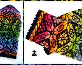 Hand Knitted Rainbow Mittens Hand Knitted Rainbow Gloves Wool Mittens Women's Mittens Wool Gloves Patterned Latvian Mittens Winter Gloves