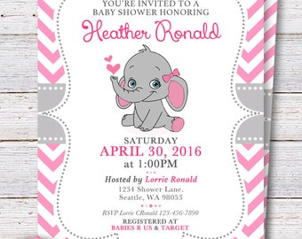 Elephant Baby Shower Invitation   Pink Elephant Girl Baby Shower Invite    Pink And Gray Invite