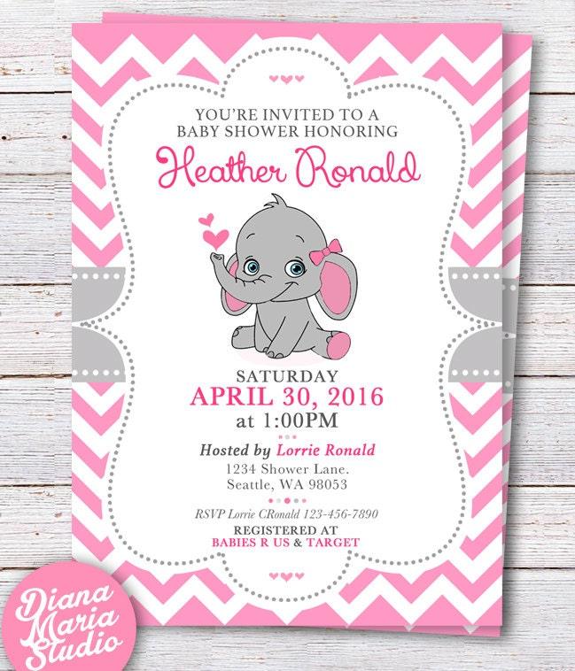 Elephant Baby Shower Invitation Pink Elephant Girl baby