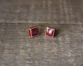 Ceramic stud, Handmade Stud Earrings, Square Stud Earring, Red Studs, Pottery Stud, Pottery Earring, Red Earring, Red Ceramic Stud, Earrings