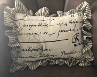 French script cottage country shabby farmhouse style pillow with ruffle