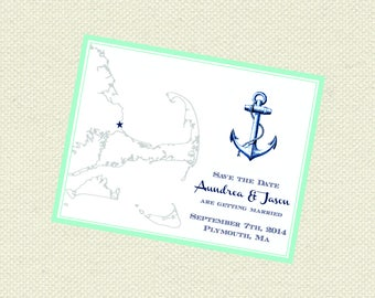 Cape Cod anchor the Date, Nautical Save the Dates, Coastal Save the Date, Beach Save the Date, Wedding Save the Date, Cape Cod