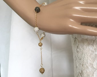 22K Gold plated Crystal Pave Bracelet Disco Ball Rhinestone Bracelet