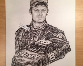 Dale Earnhardt Jr NASCAR Art Print 11x14 Illustration