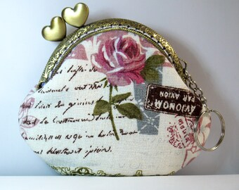 Kiss Lock Frame cotton linen Women Bridesmaid Snap Coin Purse Mini Wallet,birthday gift,gilrs,---Paris Memory Rose Flowers,GET FREE GIFT