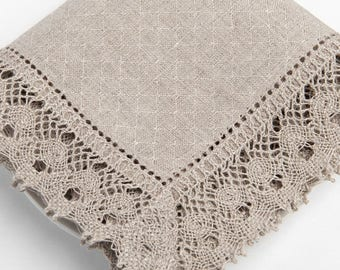 100 % LINEN NAPKINS Gray with hemstitched edges and linen lace Rustic linen napkins  Luxury napkins Wedding napkins