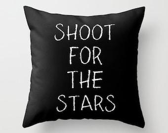 Black and White Pillow - Shoot for the Stars - Kids Pillows - Modern Decorative Pillows - Velveteen Pillow Cover - Modern Kids Decor - Gifts