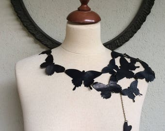 Black Butterfly - Leather Butterflies Steampunk One Shoulder Necklace or Bolero - OOAK Special Edition With Love