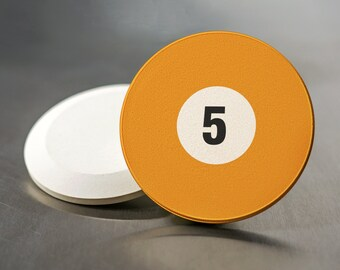 Pool Ball Car Coaster, Five Orange Ball, Sandstone Coasters Set of 2, Guy Gift, Billaird