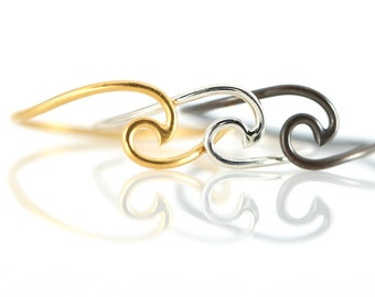 Wave Ring, Sterling Silver, 14k Gold Vermeil, Black, Beach Jewelry, Ocean Jewelry, Boho Beach Jewelry, Wave Jewelry