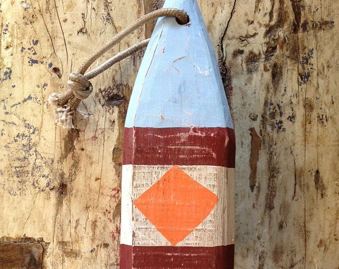 "Coastal Decor 11"" Lobster Buoy Blue, Navy Red, White, Orange Nautical Wooden by SEASTYLE"