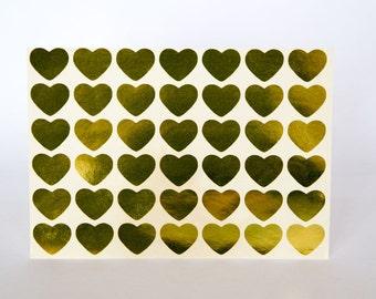 "0.75"" gold sticker, heart sticker, paper sticker, letter envelope seal label, self adhesive bag seal, favor sticker, planner sticker"
