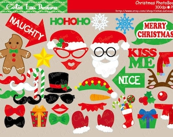 Christmas Photo Booth Props digital clipart set , Ugly Christmas Sweater party Party Props/ Printable Photo Props DIY / INSTANT DOWNLOAD