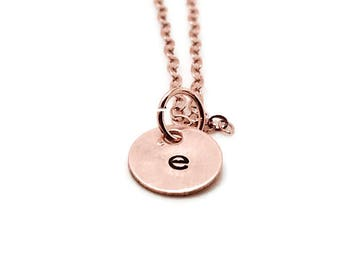 Rose Gold Initial Necklace, Letter e Necklace, All Letters Available, Hand Stamped Jewelry, Gold Filled, Personalized Jewelry, Gift for Her