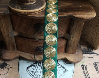 Embroidered Gold Ribbon round spiral emerald green 2 cm