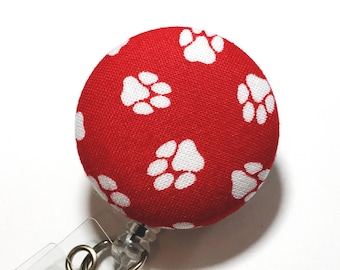 red paw print cat dog nurse badge reel retractable badge id badge holder badge reels badge clip poppy and pipe name badge