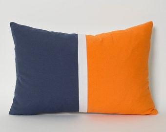 Blue Orange Pillow Etsy