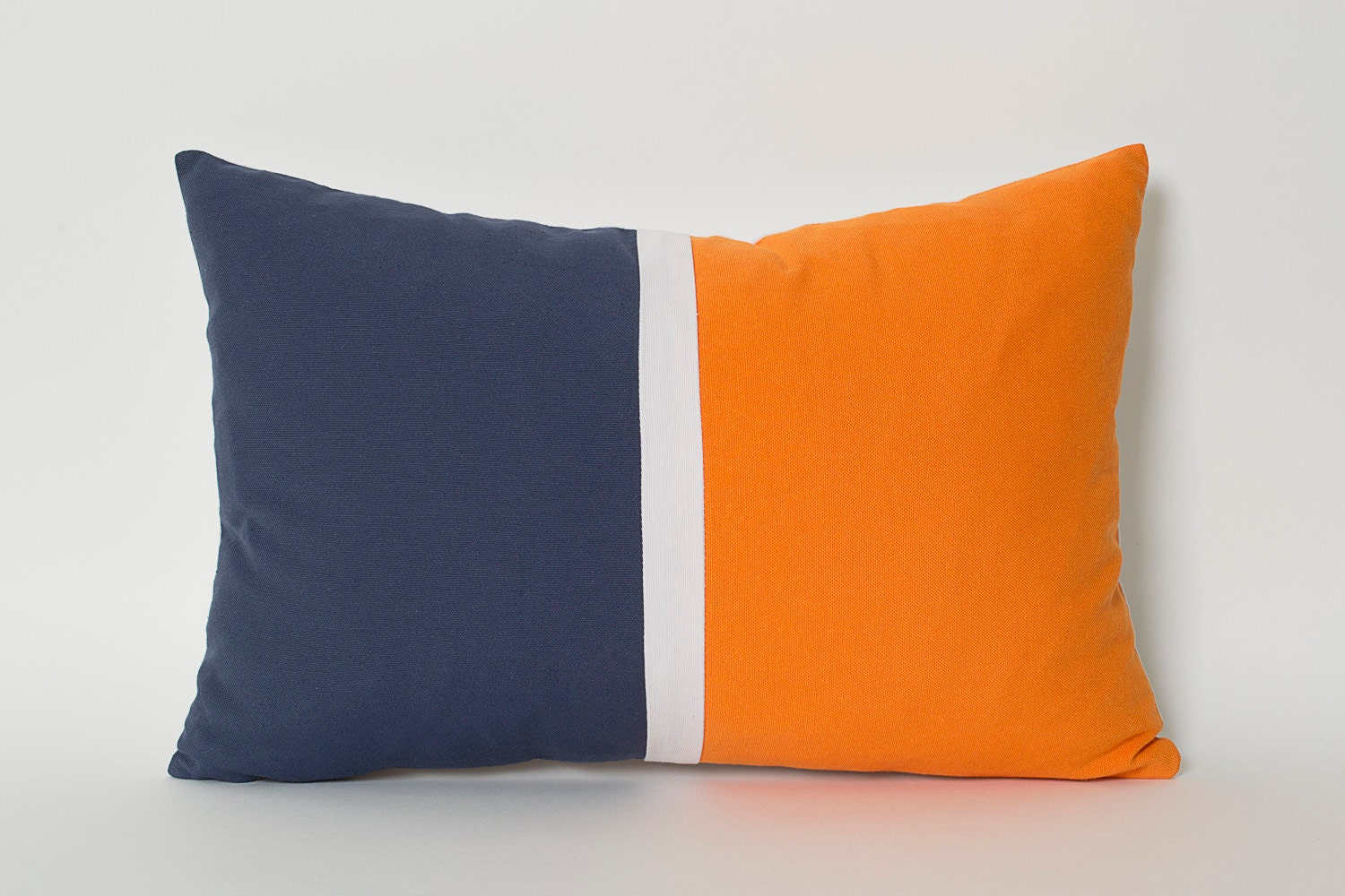 Navy Blue Orange White Linen Color Block Solid Pillow Cover