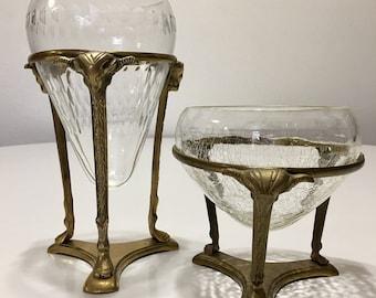 Hollywood Regency Brass Ram Head Vessels- A Pair