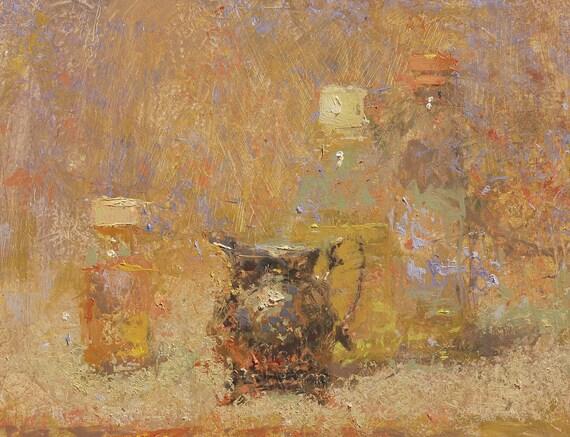 """Still Life , Original Oil Painting ,  9x12 , """"Light Fog"""" , by artist John Kelley"""