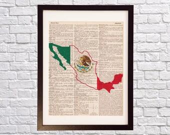 Mexico Dictionary Art Print - Mexico City Art - Print on Vintage Dictionary Paper - Mexican Flag, Iztapalapa, Guadalajara, Puebla, Juarez