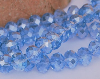 12 pcs 12x9mm Transparent Pale Blue Faceted Rondelle Crystals