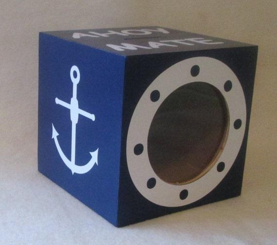 Nautical piggy bank wood bank coin bank personalized - Nautical piggy banks ...