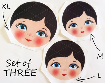 Babushka Matryoshka Cloth Face, set of 3 Fabric Faces