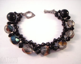 Black Crystal Bracelet beaded faceted bicone statement bracelet with Czech vitrail glass beads