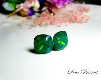 Sparky Supreme Dark Green Opal Elegant Square Swarovski Crystal earrings stud style