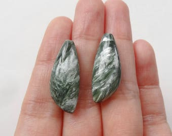 Seraphinite Half Top drilled Asymmetrical Marquise Drops 10x25x6/7 mm mm One Pair J7102