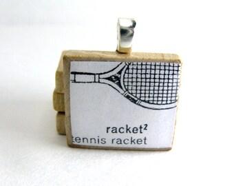 Tennis racket - vintage dictionary Scrabble tile