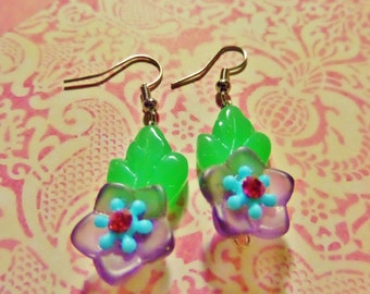 Pretty Petunias glass flower earrings