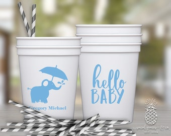 Elephant Baby Shower Cups   social graces and Co.