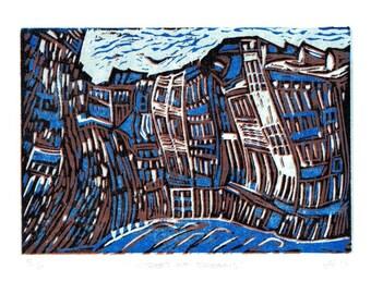 Linocut Print, Hand Printed, Original, Limited Edition, Block Print, New Orleons, Street Scene, Modern Wall Art,