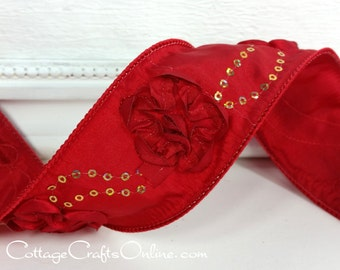 """Wired Ribbon, 2 1/4"""" Red Rosettes, Gold Sequins - TEN YARD ROLL - Offray """"Love Blooms"""" Red Rose Taffeta Wedding, Valentine Wire Edge Ribbon"""