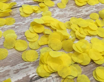 Yellow Tissue Paper Circle Confetti  Baby Shower Decor Confetti  Yellow Party Table Confetti  Wedding Exit Toss First Birthday Confetti