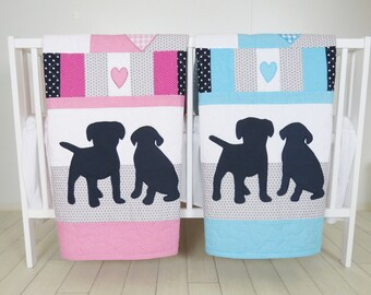 Puppy Baby Quilt, Dog Twin  Crib Bedding, Labrador Kids  Blanket,  Aqua  Dark Blue Gray and Pink , Patchwork Organic Infant Bedding