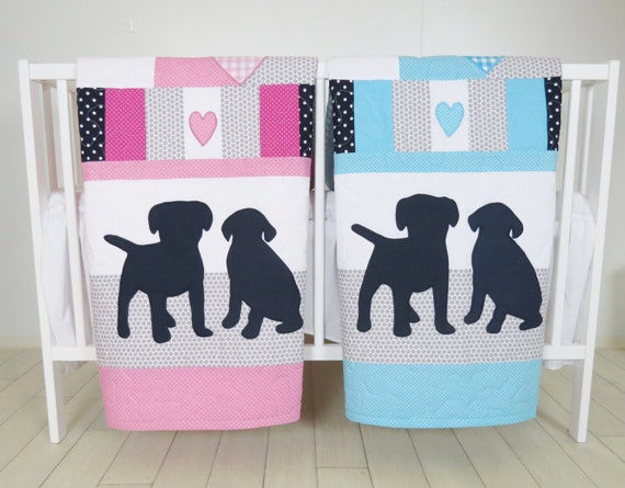 Puppy Baby Quilt, Dog Twin  Crib Bedding, Labrador Kids  Blanket,  Aqua  Dark Blue Gray and Pink , Patchwork Organic Infant Bedding