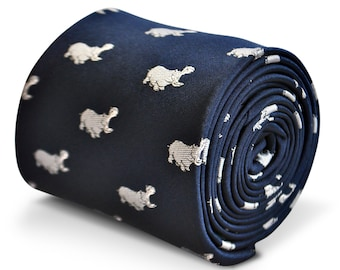 navy blue tie with hippo embroidered design with signature floral design to the rear by Frederick Thomas FT3232