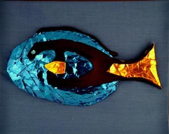 Blue Tang Reef Fish Art, 8x10