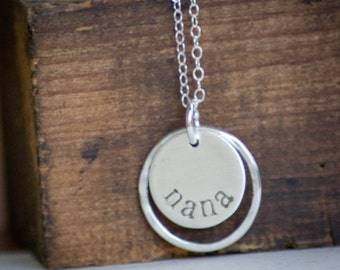 Nana Necklace - Hand Stamped - Sterling Silver - Simple Minimalist Jewelry for Mothers Day Gift by Betsy Farmer Designs