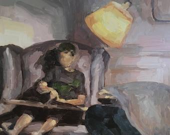 "Original Art, Original Oil Painting, Wall Art, Home Decor, Original Figure Painting, ""Joshua in the Reading Chair, Age 5"", 12x12 inch"
