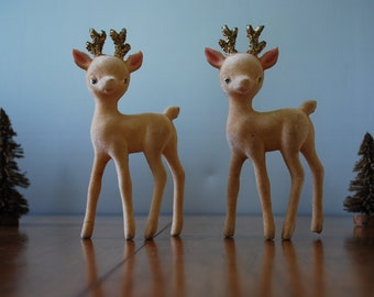 vintage flocked reindeer - pair - 1960's - Japan - christmas decor - table ornaments