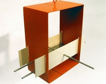 Bird Feeder Cubist Modern in Orange - welded steel birdfeeder