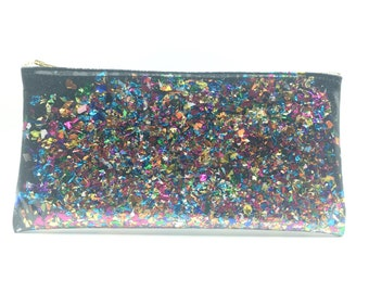 Black Confetti Clutch! - glitter and vinyl clutch, fun clutch, going out clutch, black sparkle clutch