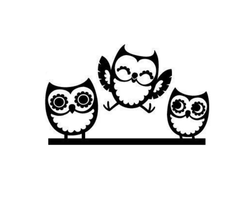3 Owl Family Decal Cute Vinyl Decal Sticker Car Truck