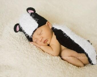 Instant Download Crochet Pattern - No 29 Lil' Stinker Skunk - Cuddle Critter Cape - Newborn photography prop