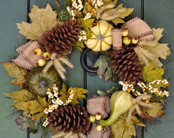 Fall Wreath, Pine Cone, Gourd and Fall Leaf Wreath, Pumpkin, Fall, Harvest, Autumn Wreath, Harvest Wreath, Fall Leaves, Front Door Wreath